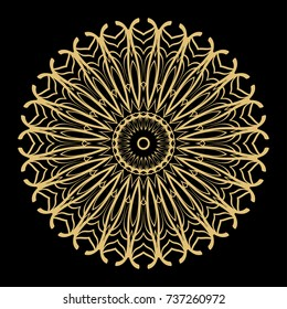 Hand drawn Gold Mandala on a black background. Vector pattern. for greeting card, invitation, yoga and spa symbol