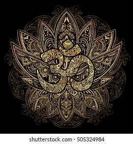 Hand drawn gold on black ornate vector ornamental Lotus Tattoo, ith Om, as a spiritual symbol of India, ethnic art. Spiritualism, magical symbols for astrology and alchemy in boho style.