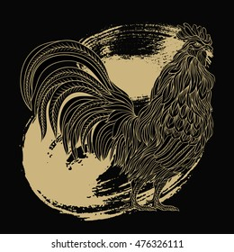 Hand drawn gold rooster in line art style. Vector illustration. Symbol of chinese new year.