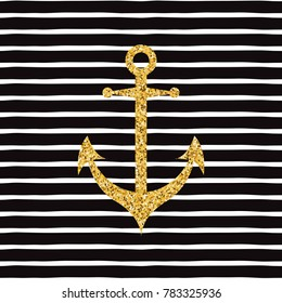 Hand drawn gold sparkle anchor on striped line seamless pattern Modern romantic typography print in golden and black color . Vector illustration design element for decor
