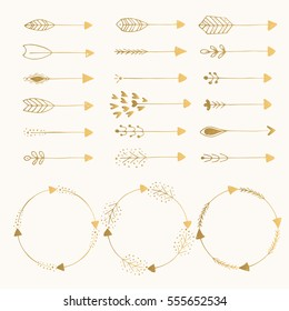 Hand drawn golden arrows and frames. Vector. Isolated.