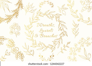 Hand drawn golden botanical branches, floral wreaths and laurels. Flourish dividers. Vector isolated elements. Gold wedding borders for invitation card.