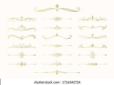 Hand drawn golden calligraphic dividers. Swirl victorian borders.  Vector isolated gold royal decor separators. Classic wedding invitation calligraphic lines.