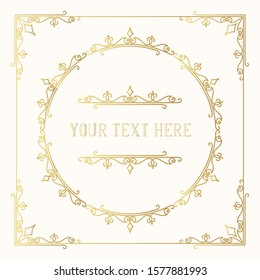 Hand drawn golden elegant squared frame with ornate gold borders and corners.  Vector isolated Victorian pattern. Classic wedding invitation template.