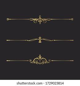 Hand drawn golden filigree dividers. Ornate swirl borders.  Vector isolated gold fancy separators. Classic wedding invitation calligraphic lines.