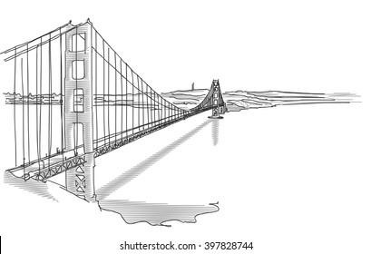 Hand Drawn Golden Gate Bridge in Two Tone Grays, Vector Sketch