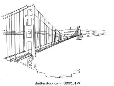 Hand drawn Golden Gate, San Francisco. Vector Outline Scribble