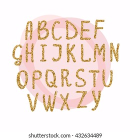 Hand drawn golden glitter letters. Font for for your designs: t-shirts, for posters, cards, etc. Vector illustration.