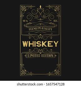 Hand drawn golden ornate alcohol frame for whiskey bottle. Gold vintage label with lettering for pub.