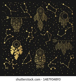 Hand drawn golden pattern with Zodiac signs, Scandinavian dream catchers in the star sky. Gold constellations background. Vector isolated galaxy illustration.