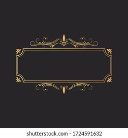 Hand drawn golden rectangular luxury frame. Gold filigree border.  Vector isolated vintage invitation. Classic royal wedding template.