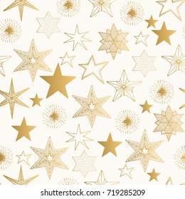 Hand drawn golden stars pattern. Vector background.