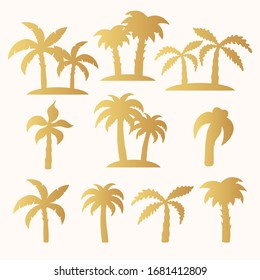 Hand drawn golden tropical trees silhouette set. Gold palm, banana leaves. Vector isolated tropic pattern for summer design.