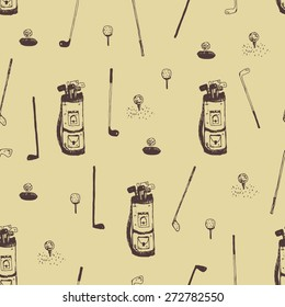 hand drawn golf seamless pattern