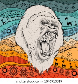 Hand drawn gorillas portrait on African hand draw ethno pattern, tribal background. Vector illustration