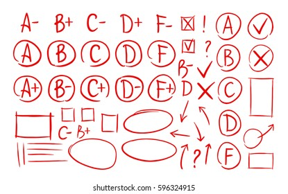Hand drawn grade results, check marks set of icons. School, education, business symbol. Exam, examination, test vector illustration