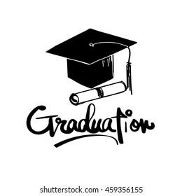 hand drawn Graduation word cap certificate vector file