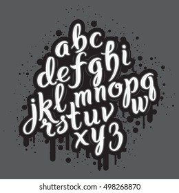 Hand drawn graffiti font alphabet. Brush pen letters. Handwritten script font. Hand lettering custom typography with graffiti paint flows and blots