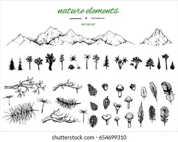 hand drawn grafic set with nature and forest elements: mountains, trees, moushroom, foliage, plumes