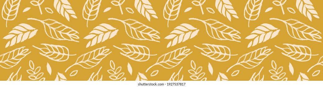 Hand drawn grain crops pattern seamless, bread grains icons, food grains illustration, wheat drawings for background of bread label design, healthy food banner, vegetarian wallpaper, bakery packaging.