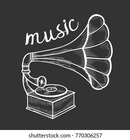 Hand drawn gramophone, sketch. Music, nostalgia symbol. Vintage vector illustration. Isolated on black background
