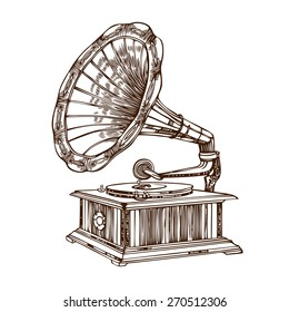 Hand drawn gramophone in vector. Vintage gramophone isolated on white.