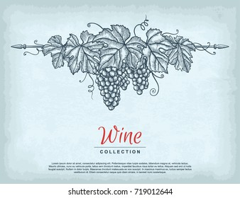 Hand drawn grape wreath on old craft paper texture background. Template for your design works. Engraved style vector illustration.