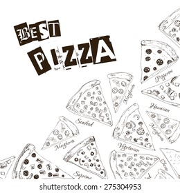 Hand drawn graphic background with sliced pizza