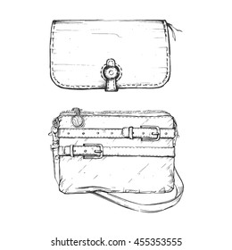 Hand drawn graphic bags