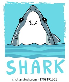 Hand drawn graphic design with shark and inscription - Shark. Vector illustration