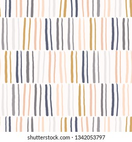 Hand drawn graphic doodle stripes seamless pattern. Sketchy organic lines texture vector illustration. Modern wallpaper graphic design. Fresh scandi style scribble shapes for home decor background