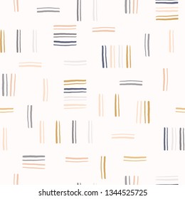 Hand drawn graphic doodle stripes seamless pattern. Sketchy organic lines texture vector illustration. Modern wallpaper graphic design. Fresh gender neutral scandi style scribble. Kid decor background