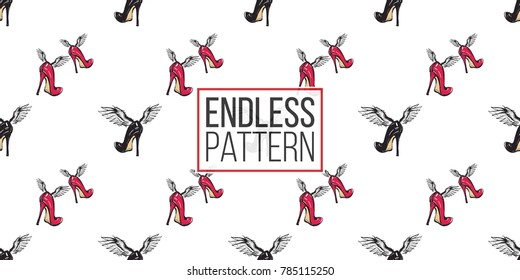 Hand drawn graphic flying red heels and black heel with angel wings. Glamour fashion seamless pattern in graphic style. Endless pattern with white background.