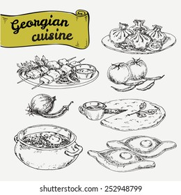 Hand drawn graphic illustration georgian cuisines. Vector