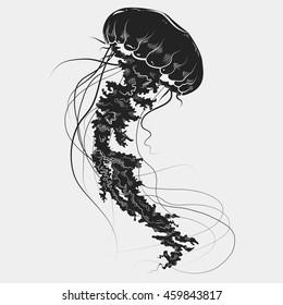 Hand drawn graphic jellyfish. Vector illustration with medusa silhouette. Tattoo sketch. Sea collection.