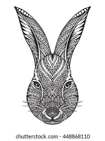 Hand drawn graphic ornate head of rabbit with ethnic floral doodle pattern.Vector illustration for coloring book, tattoo, print on t-shirt, bag. Isolated on a white background.