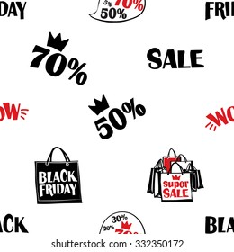 Hand drawn graphic promo sale, black friday, wow, speech, black friday shopping bag, sale shopping bags seamless pattern. Contrasty ornament with glamour fashion decorative symbols and elements.