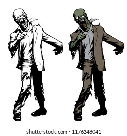 Hand Drawn Graphic Style Attacking Zombie Set