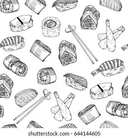 Hand drawn graphic sushi and rolls. Vector seamless pattern