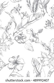 Hand drawn graphic tropical floral pattern. Pencil vector drawing banana leaves and blossom flowers hibiscus. Repeating graphic floral.