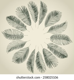 Hand drawn gray background of tropical palm leaves. Vector background.