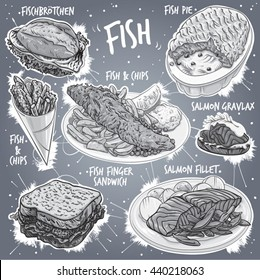 Hand drawn gray scale vector illustration of 7 popular types of Fish Food; Fish Pie, Fish and Chips, Fish & Chips in cone, Salmon Gravlax, Fish Finger Sandwich, Salmon Fillet and German Fish Sandwich.