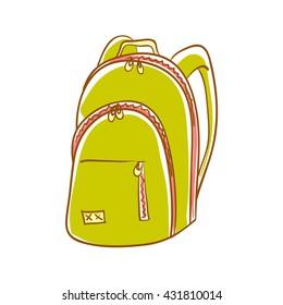 Hand drawn green backpack. Vector illustration of backpack. Backpack isolated on white. Rucksack, knapsack, haversack, satchel for travel, hiking, students, school.