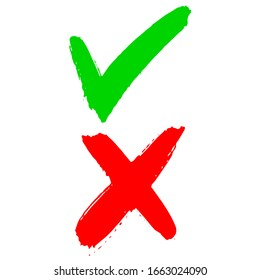 hand drawn of Green checkmark and Red cross isolated on white background. Right and wrong icon . Vector illustration.