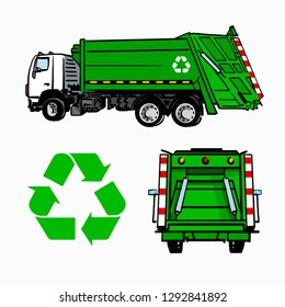 Hand drawn green garbage truck, side and back view, and recycle symbol. Vector sketch isolated on white.