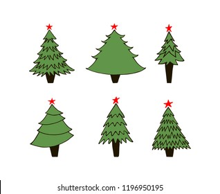 Hand drawn green New Year trees on white background