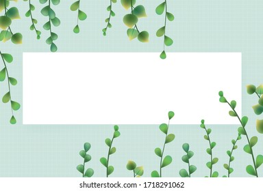 Hand drawn green plants combination vector illustration banner green background, wedding decoration elements, spring, summer plants, branches, leaves,