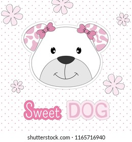 Hand drawn greeting card of a cute sweet dog. Isolated objects on colored background. Design concept