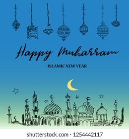 Hand drawn greeting card of  Islamic New Year Happy Muharram. Famous holiday of Muslim community celebration. Mosques silhouettes.