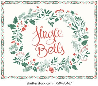 Hand drawn Greeting Card on Christmas with Floral Frames with Shabby Texture and Lettering Jingle Bells